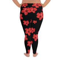Load image into Gallery viewer, Red Hibiscus Plus Size Leggings