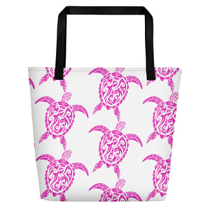 Pink and White Sea Turtle Beach Bag