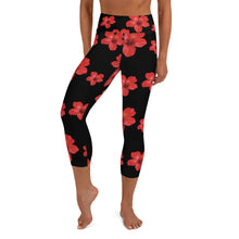 Load image into Gallery viewer, Red Hibiscus Yoga Capri Leggings With Pocket