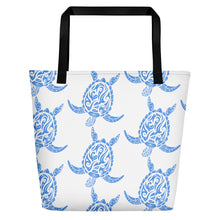 Load image into Gallery viewer, Light Blue and White Sea Turtle Beach Bag