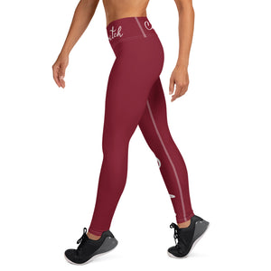 Maroon and White Code Switch Yoga Leggings With Pocket