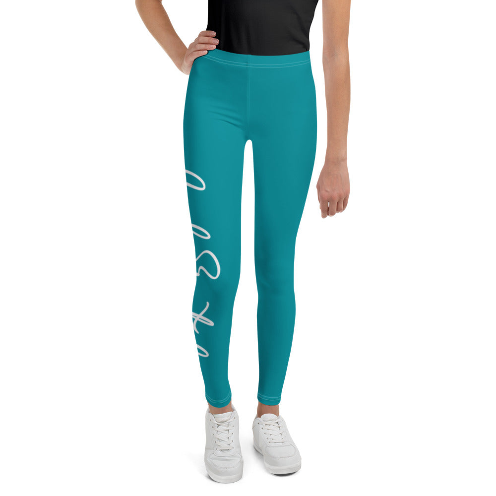 Code Switch Turquoise and White Youth Leggings