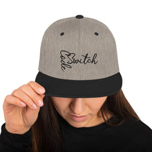 Load image into Gallery viewer, Code Switch Cursive Snapback Hat Black Print