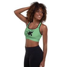Load image into Gallery viewer, Green Code Switch Black Puzzle Piece Padded Sports Bra