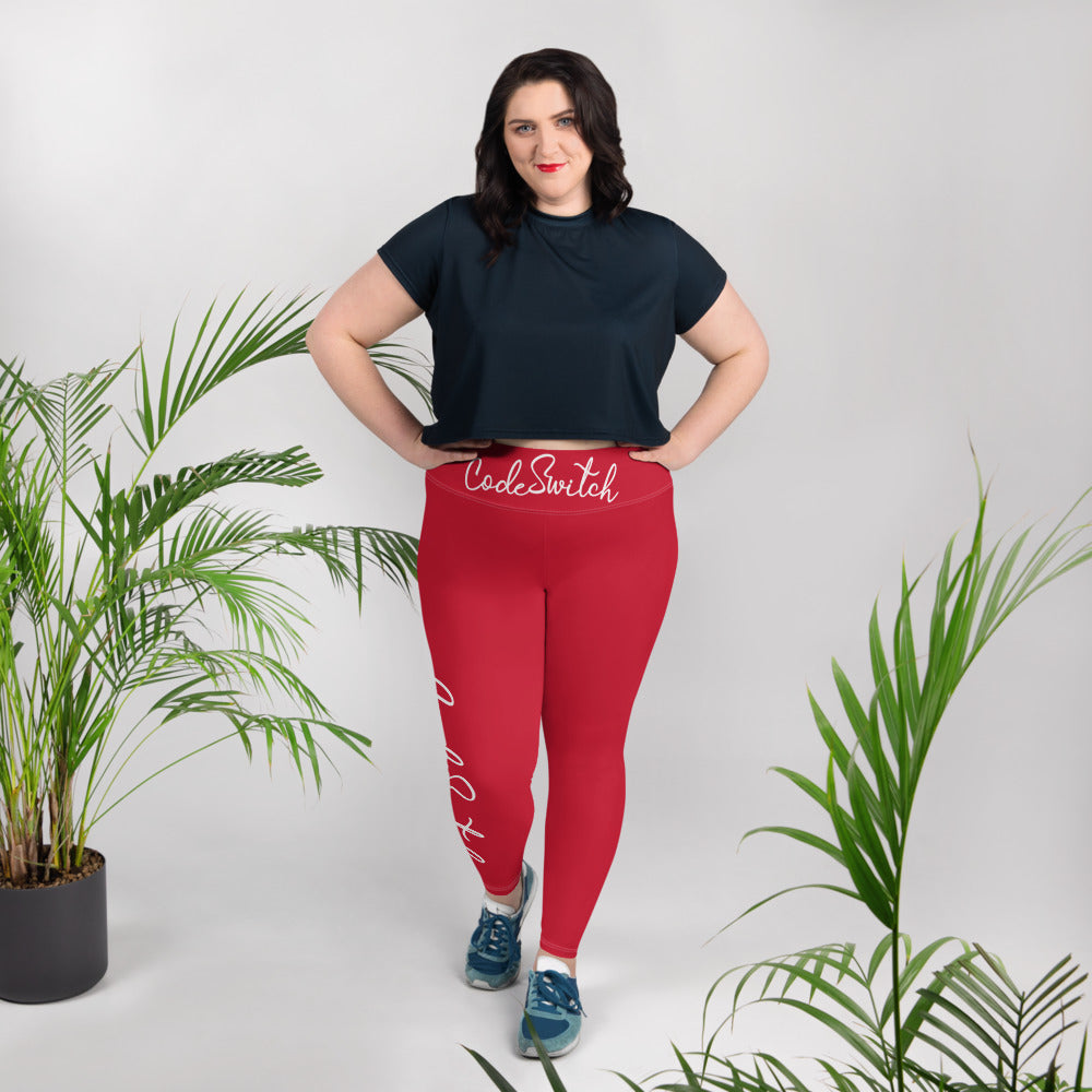 Red and White Code Switch Plus Size Leggings