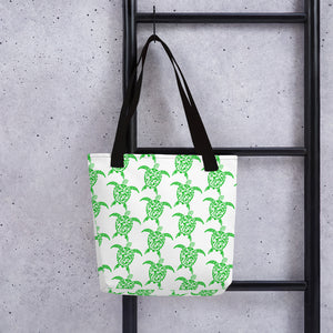 Green and White Sea Turtle Tote bag