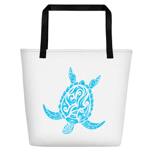 Blue and White Large Sea Turtle Beach Bag
