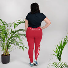 Load image into Gallery viewer, Red and White Code Switch Plus Size Leggings