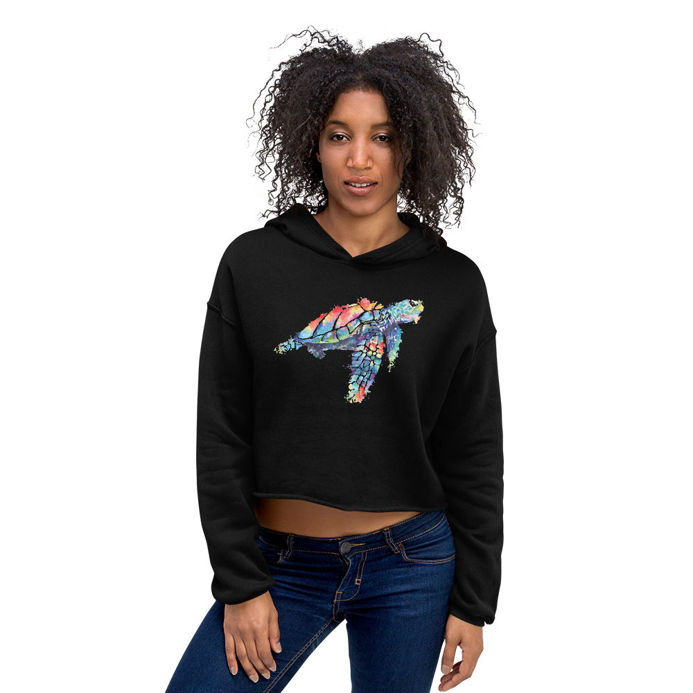Watercolor SeaTurtle Crop Hoodie