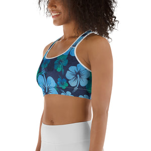 Blue Hibiscus Sports bra