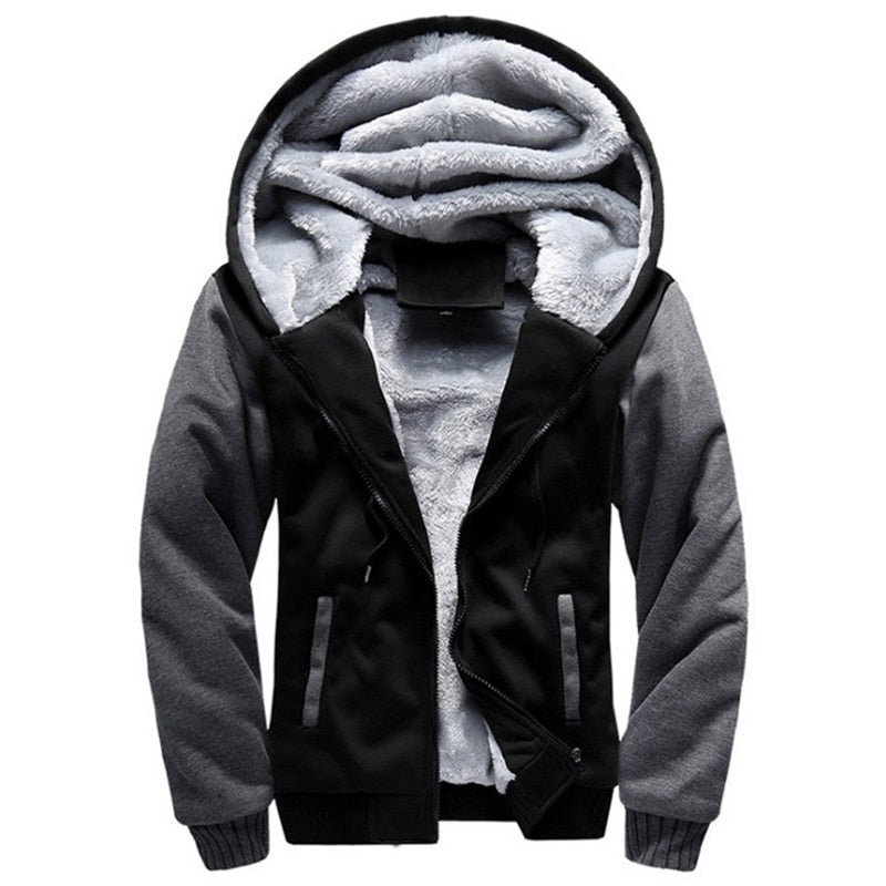 Fleece Zipper Men Hoodies