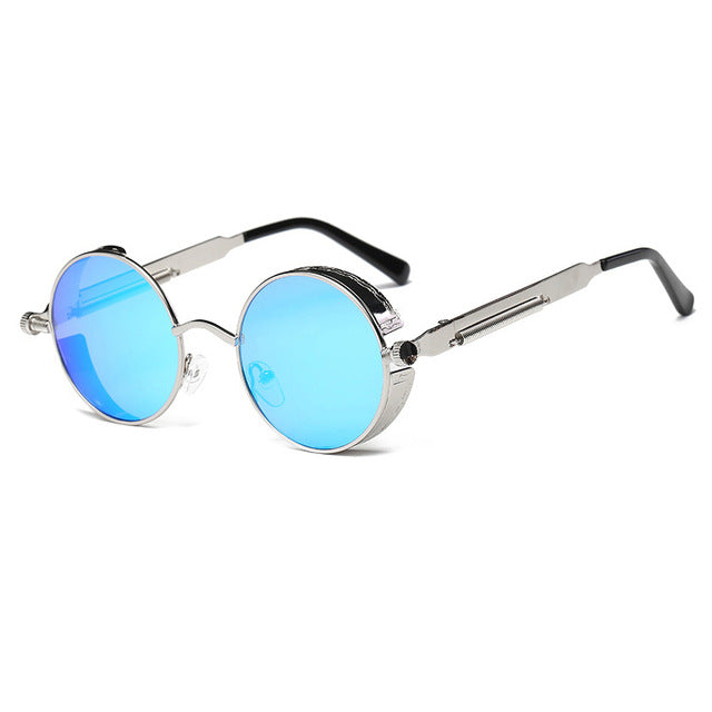 Metal Round Steampunk Men Sunglasses