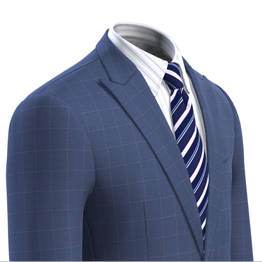 Men Blue Check dress Suit