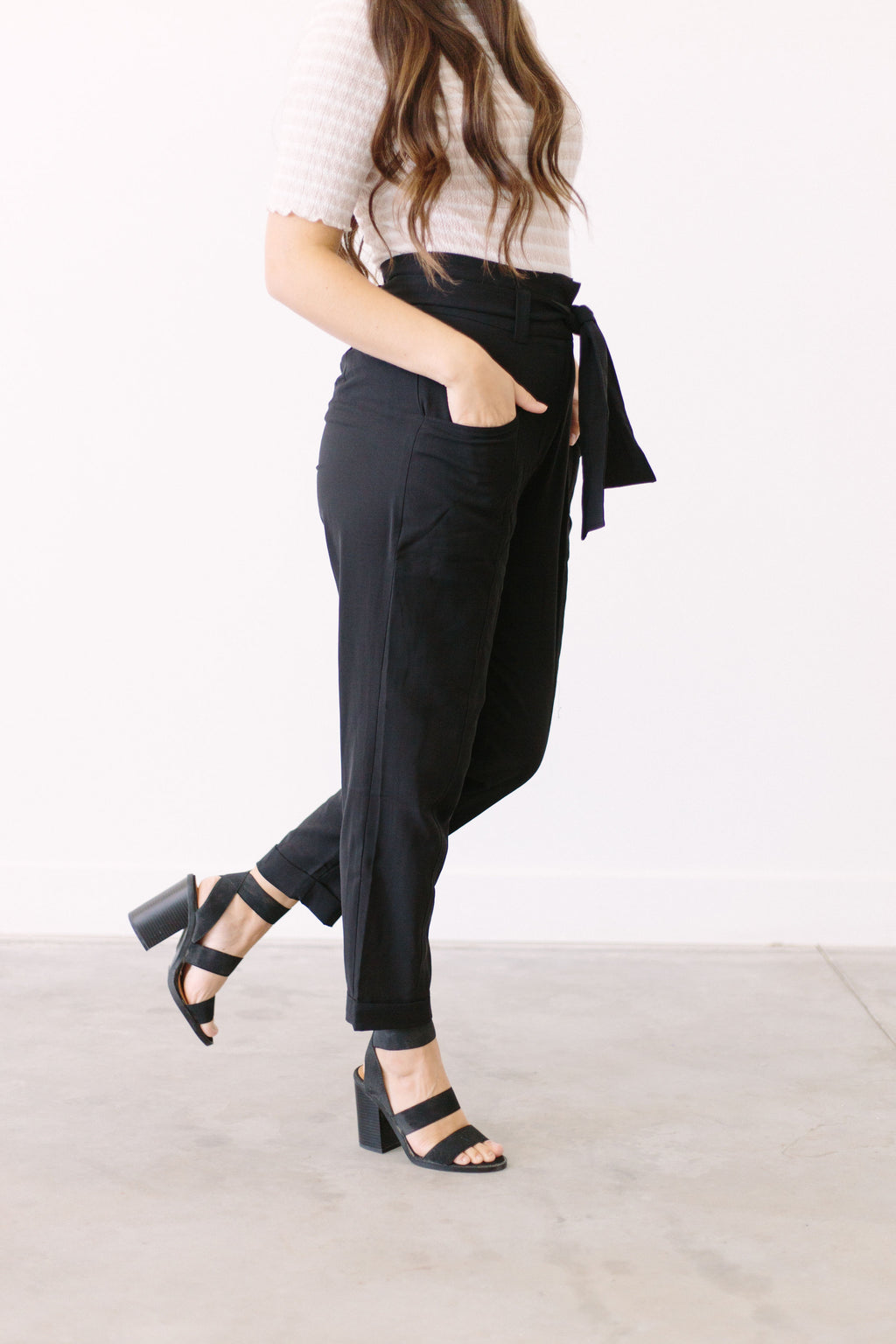 Forget-Me-Not Paper Bag Pants In Black