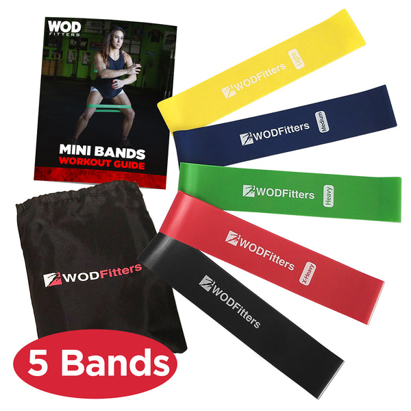 New and Improved WODFitters Set of 5 Resistance Loop Exercise Bands - Mini Bands - with Carrying Bag