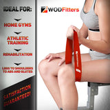 New and Improved WODFitters Set of 4 Resistance Loop Exercise Bands - Mini Bands - with Carrying Bag
