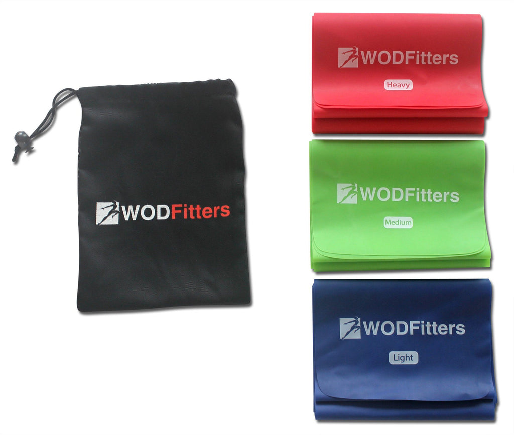 WODFitters Physical Therapy Bands - Long Flat Workout Exercise Resistance Bands for Yoga, Pilates, Cross Training, Mobility, Flexibility and Stretching