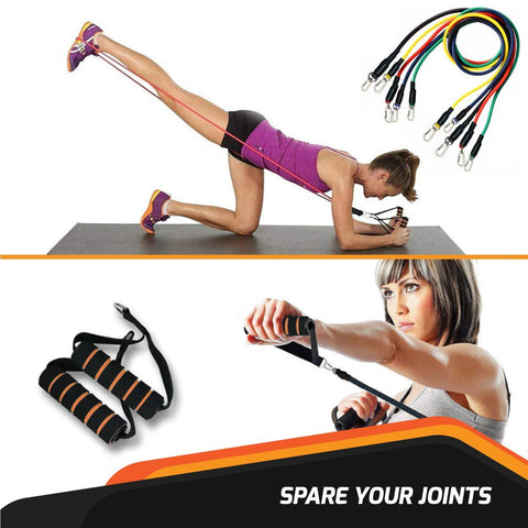 WODFitters Resistance Band Set - Stackable 5 Workout Band Set With Grip Handles