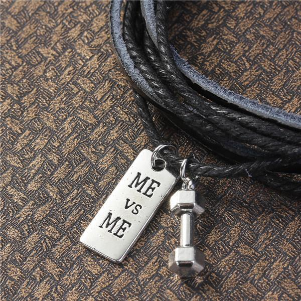Cowhide Leather Fitness Bracelet with 2 Charms - Weight Lifting Charms
