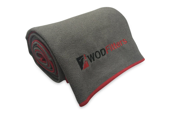 WODFitters Non Slip Microfiber Yoga Towel Mat with Corner Pockets and Carrying Bag