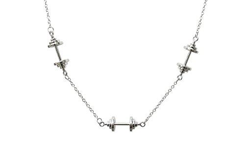 WODFitters Stainless Steel Fitness Necklace with 3 Barbells - Comes with Gift Box