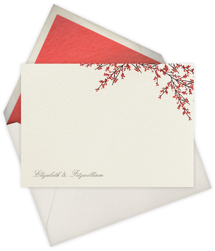 Cranberry red berry Thank You note