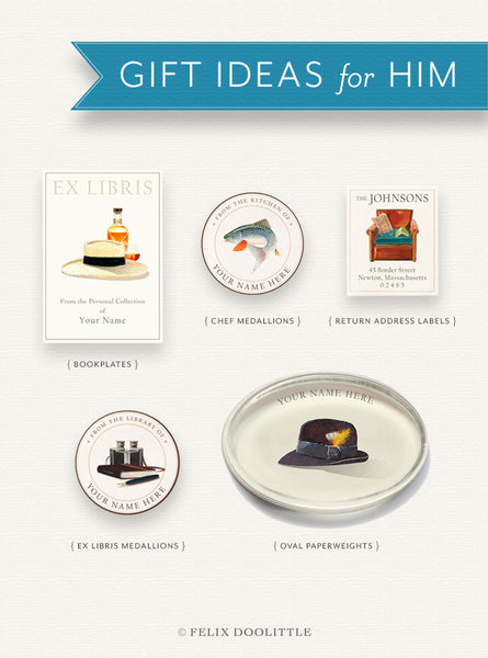 Gift Ideas for Him — Bookplates, Chef Medallions, Return Address Labels, Ex Libris Medallions, and Personalized Oval Paperweights