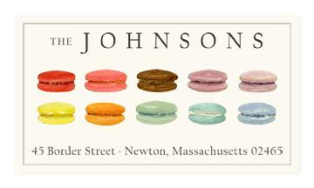 rainbow macarons panoramic return address labels by felix doolittle
