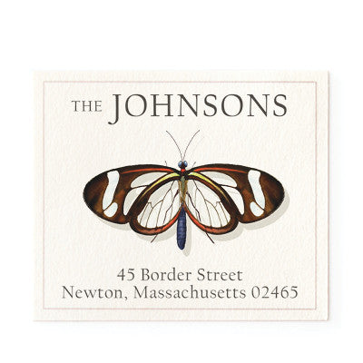 glassy butterfly return address labels by felix doolittle