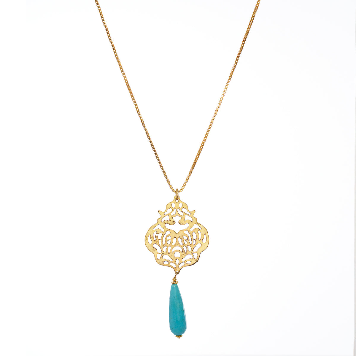 FLAMINGO NECKLACE Gold/Turquoise