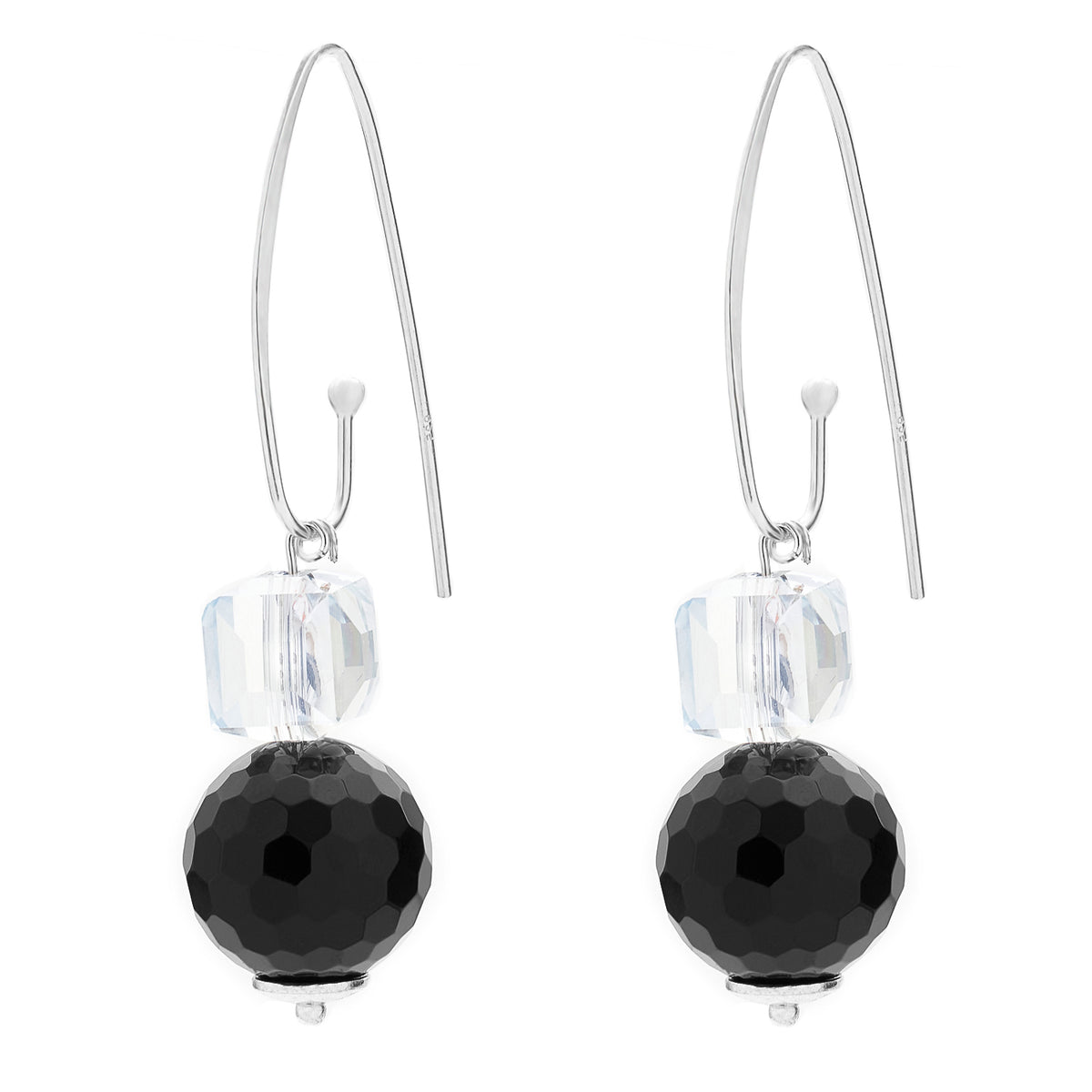 FRENCH HOOK EARRING | ONYX AND CRYSTAL