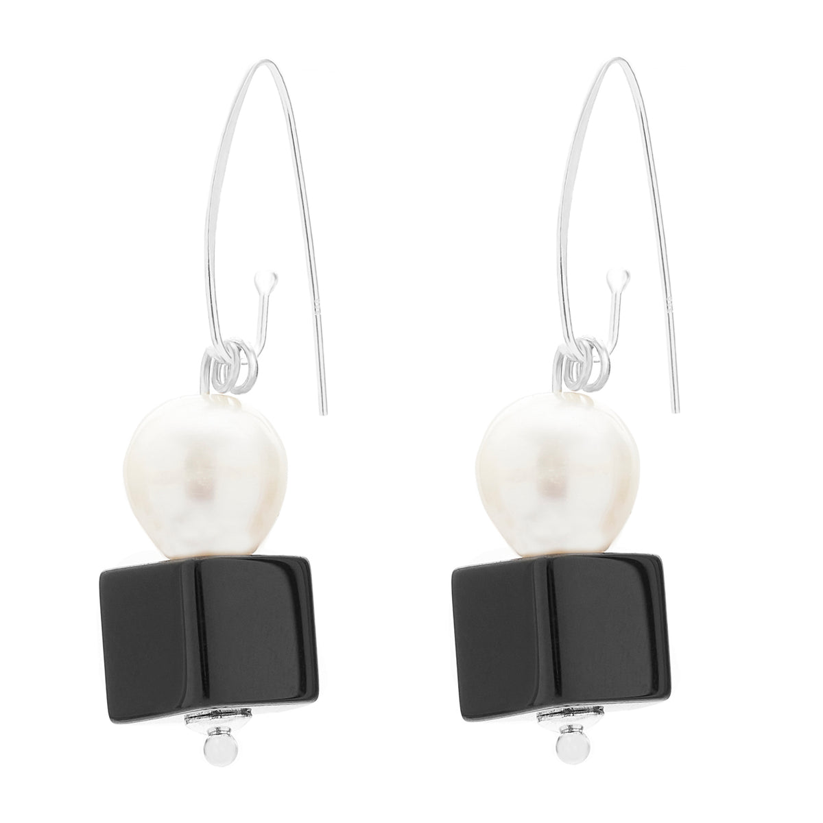 FRENCH HOOK EARRING | PEARL AND ONYX CUBE