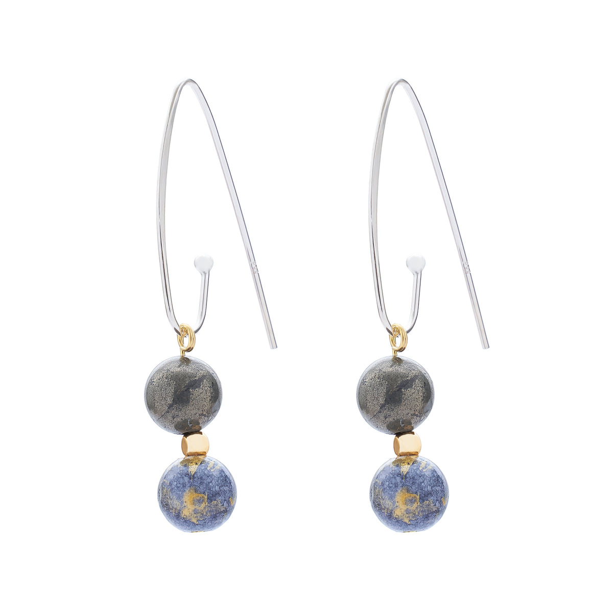 FRENCH HOOK EARRING | GREY GOLD JADE