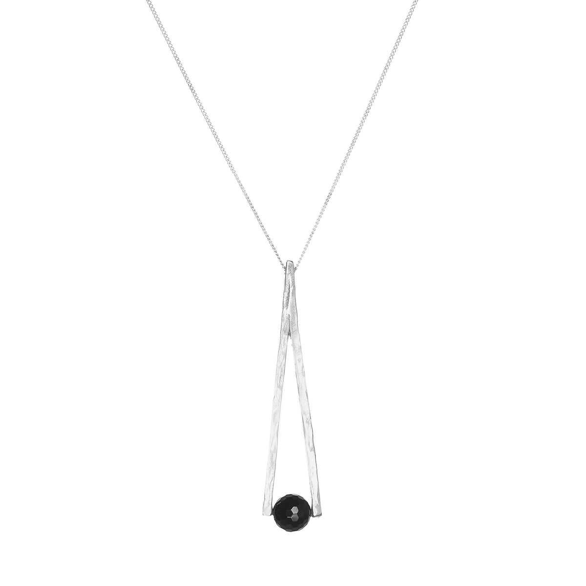 VALANCE NECKLACE SILVER/ONYX