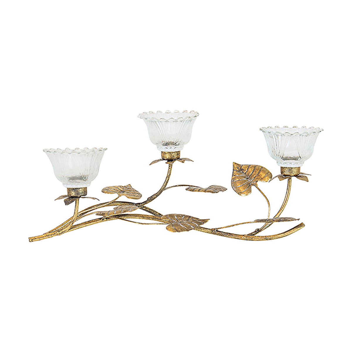 ROSIE ANTIQUE GOLD VOTIVE TREE | 3 STEMS