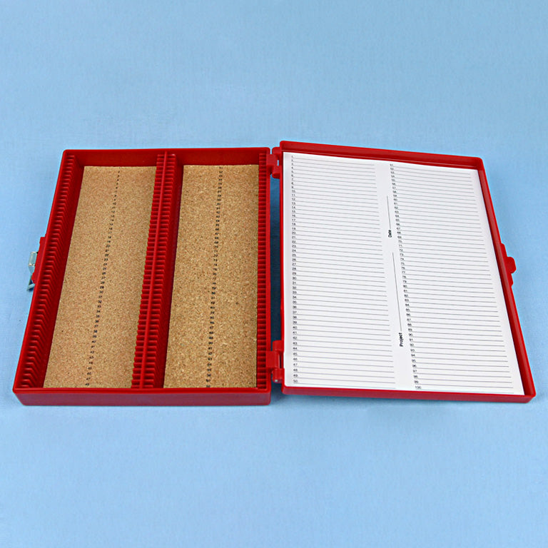 100 Place Cork Lined Microscope Slide Box - Avogadro's Lab Supply