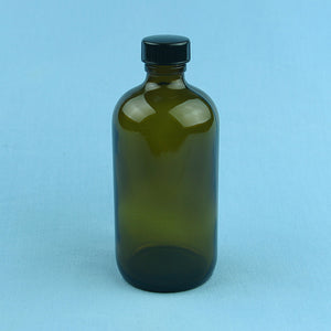 480 mL Boston Round Amber Solution Bottle - Avogadro's Lab Supply