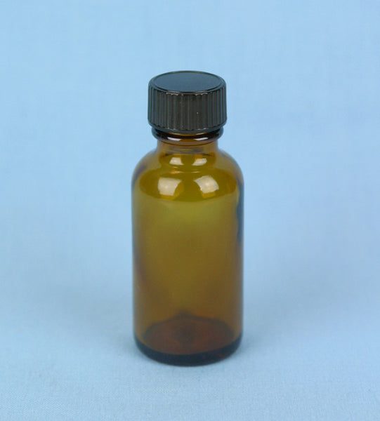 30 mL Boston Round Amber Solution Bottle - Avogadro's Lab Supply