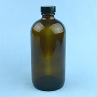 960 mL Boston Round Amber Solution Bottle - Avogadro's Lab Supply