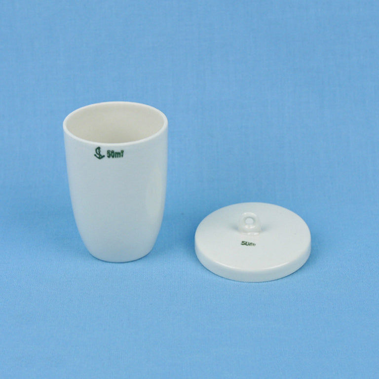 50 mL Porcelain Crucible with Lid - Avogadro's Lab Supply