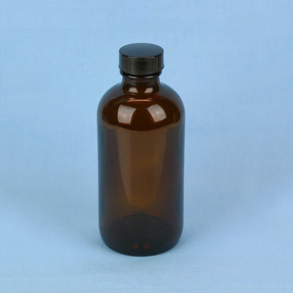 240 mL Boston Round Amber Solution Bottle - Avogadro's Lab Supply