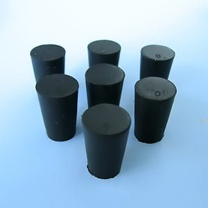 Size 0 Black Rubber Stoppers (Count 7) - Avogadro's Lab Supply