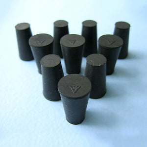 Size 00 Black Rubber Stoppers (Count 10) - Avogadro's Lab Supply