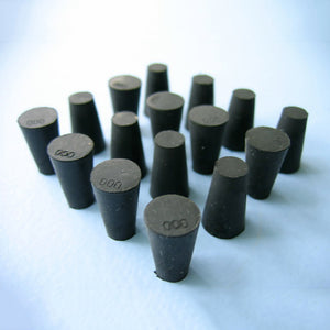 Size 000 Black Rubber Stoppers (Count 16) - Avogadro's Lab Supply