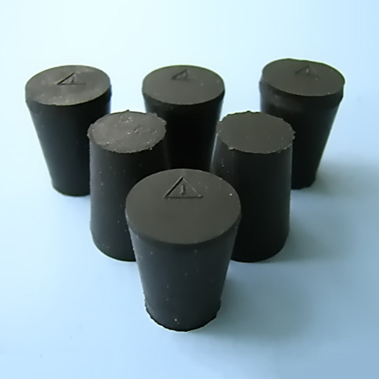 Size 1 Black Rubber Stoppers (Count 6) - Avogadro's Lab Supply