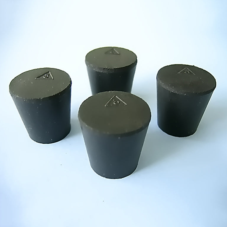 Size 3 Black Rubber Stoppers (Count 4) - Avogadro's Lab Supply