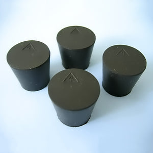 Size 4 Black Rubber Stoppers (Count 4) - Avogadro's Lab Supply