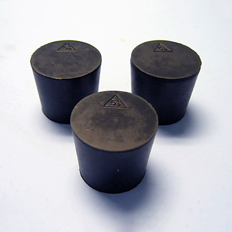 Size 5.5 Black Rubber Stoppers (Count 3) - Avogadro's Lab Supply