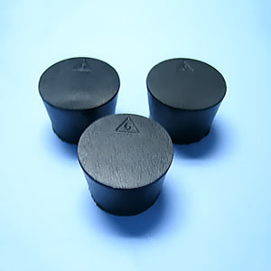 Size 6 Black Rubber Stoppers (Count 3) - Avogadro's Lab Supply