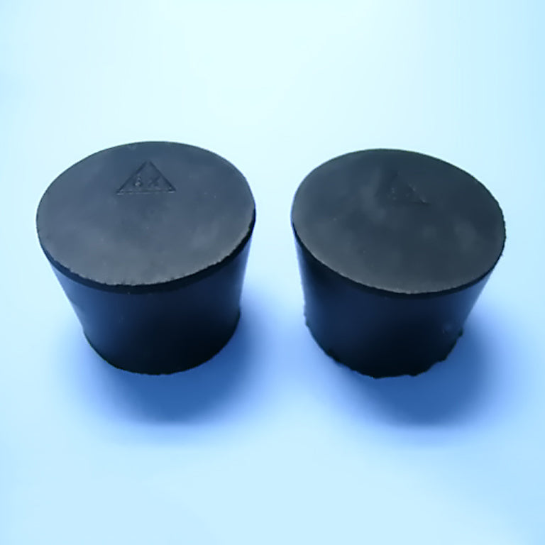 Size 6.5 Black Rubber Stoppers (Count 2) - Avogadro's Lab Supply